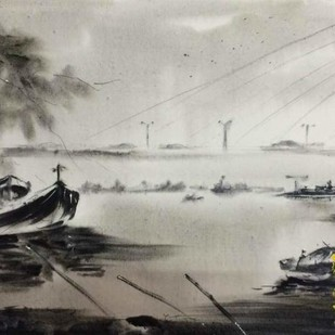Walking by the Princep Ghat by Dipankar Biswas, Impressionism Painting, Watercolor on Paper, Gray color