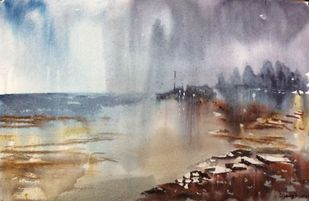A Night In Mondermoni.. by Dipankar Biswas, Impressionism Painting, Watercolor on Paper, Brown color