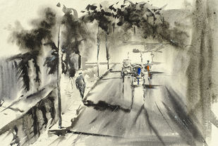 The Lane We Walked Together.. by Dipankar Biswas, Impressionism Painting, Watercolor on Paper, Beige color