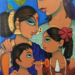 family 2 by Varsha Kharatmal, Decorative Painting, Acrylic on Canvas, Brown color