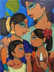 family 2 by Varsha Kharatmal, Decorative Painting, Acrylic on Canvas, Brown color