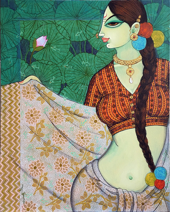 beauty by Varsha Kharatmal, Decorative Painting, Acrylic on Canvas, Beige color