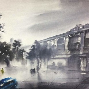Walking By DN Tagore Steet..Kolkata by Dipankar Biswas, Impressionism Painting, Watercolor on Paper, Gray color