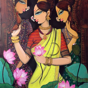 Friends with lotus.. by Varsha Kharatmal, Expressionism Painting, Acrylic on Canvas, Brown color