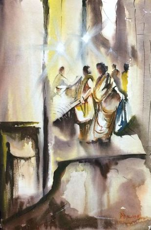 In The Morning With My Pal by Dipankar Biswas, Impressionism Painting, Watercolor on Paper, Beige color