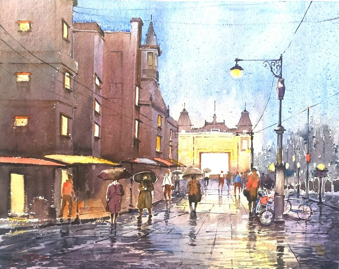 City Night by Ananda Ahire, Impressionism Painting, Watercolor on Paper, Brown color