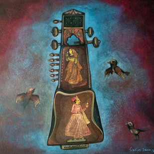 Old Sarangi by Sekhar Basu, Expressionism Painting, Tempera on Canvas Board, Brown color