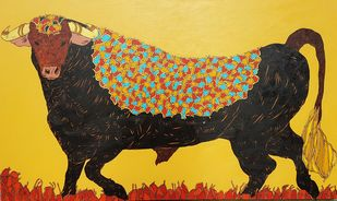 Bull by Ramakrishna Vasanthula, Painting, Acrylic on Canvas, Brown color