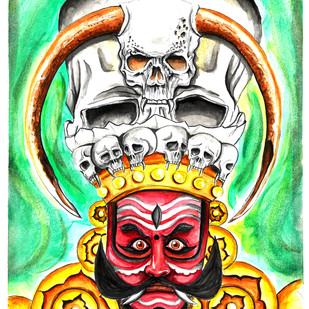 Veerabhadra - Yakshagana by Augur, Expressionism Painting, Watercolor on Paper, Green color