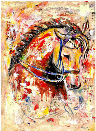 Horse abstact by Augur, Abstract Painting, Acrylic on Board, Beige color