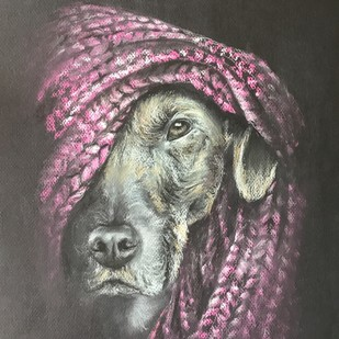 Watching you by Dhiraj K Singh, Impressionism Drawing, Pastel on Paper, Gray color