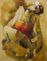 untiteld by Surendra Pal Singh, Expressionism Painting, Mixed Media on Canvas, Brown color
