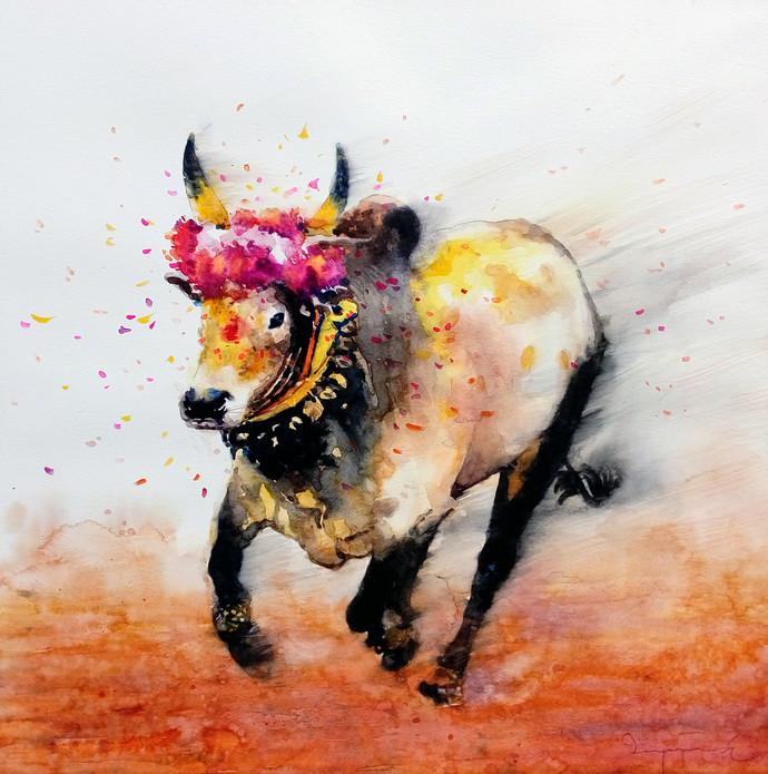 Jallikattu By Artist Jeyaprakash M Impressionism Print