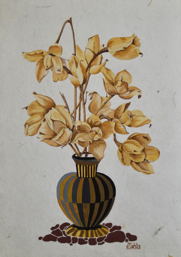 Woodroses by Dilip Mehta, Decorative Painting, Watercolor on Paper, Gray color