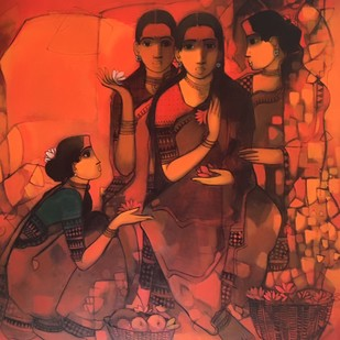 untitled by Sachin Sagare, Expressionism Painting, Acrylic on Canvas, Brown color