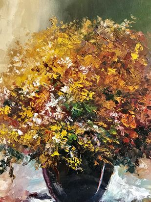 Autumn Colours by Shishir Gupta, Expressionism Painting, Oil on Canvas Board, Brown color