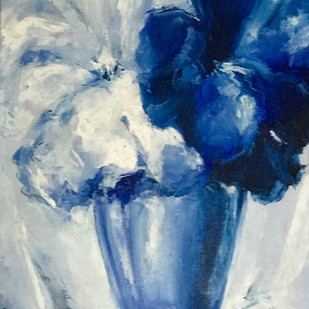Blue Blooms by Shishir Gupta, Expressionism Painting, Oil on Canvas Board, Blue color