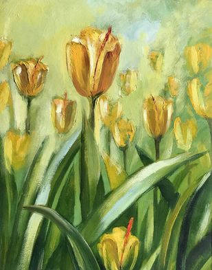 In Bloom by Shishir Gupta, Expressionism Painting, Oil on Canvas Board, Green color