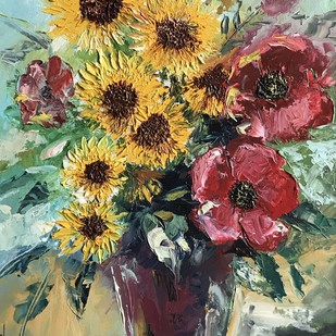 Sunflower Bouquet by Shishir Gupta, Expressionism Painting, Oil on Canvas, Brown color