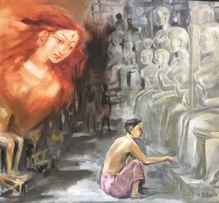 The Creation & The Creator by Shishir Gupta, Expressionism Painting, Oil on Canvas, Brown color