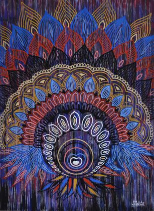 Fanning like a peacock by Dilip Mehta, Decorative Painting, Watercolor on Paper, Blue color