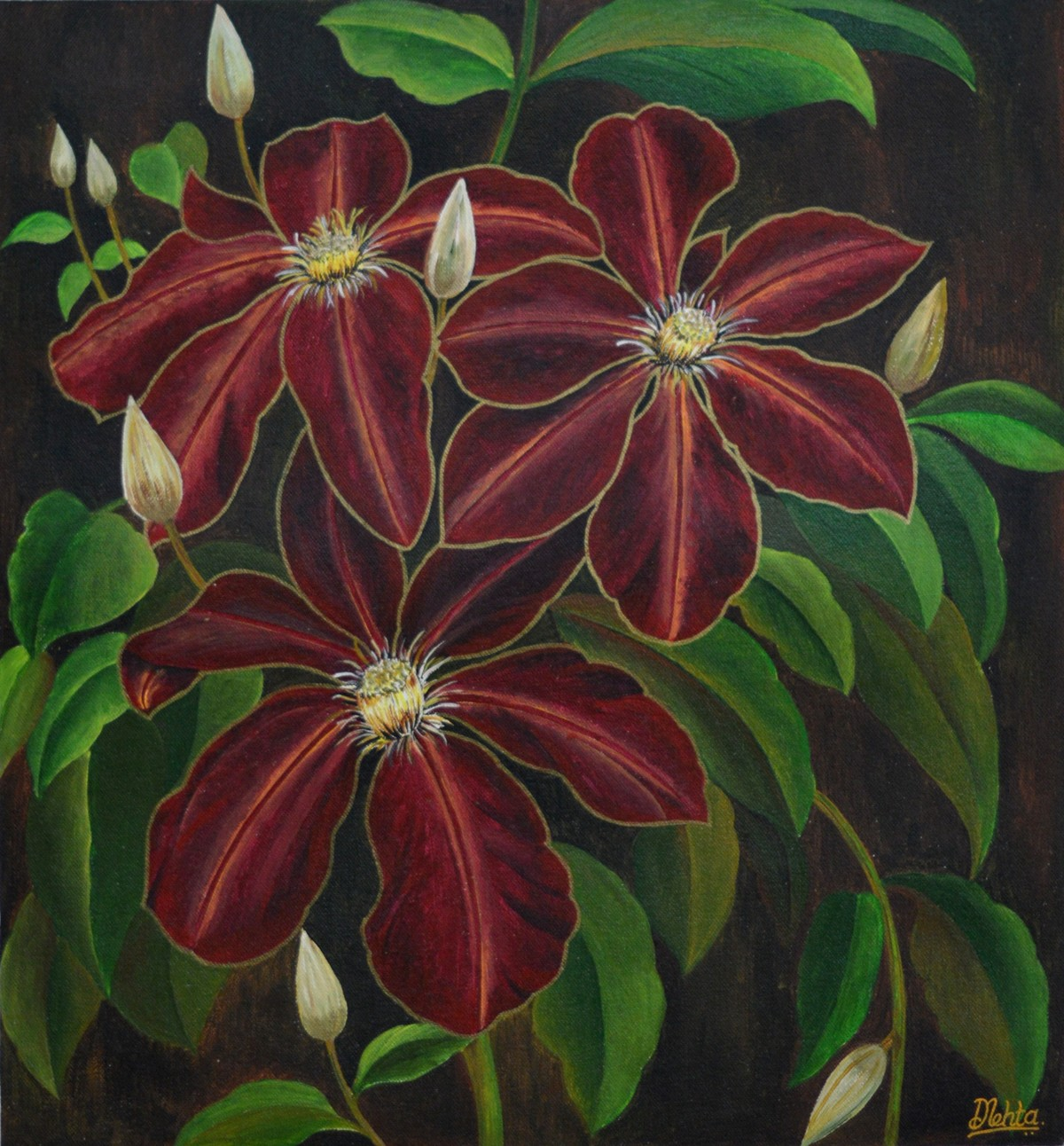 Touch of gold on red by Dilip Mehta, Expressionism Painting, Acrylic on Canvas, Brown color