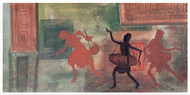Dance & song by Rupatan Naskar, Expressionism Painting, Tempera on Paper, Brown color