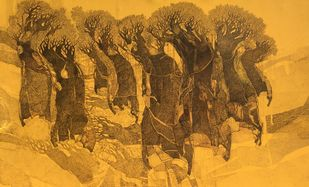 Trees by Siddharth Shingade, Expressionism Painting, Acrylic & Ink on Canvas, Brown color