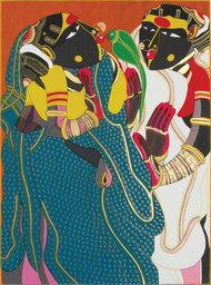 Gossiping by Thota Vaikuntam, Expressionism Printmaking, Serigraph on Paper, Green color