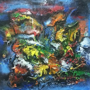 Rising colors by Ananda Ahire, Abstract Painting, Acrylic on Board, Green color