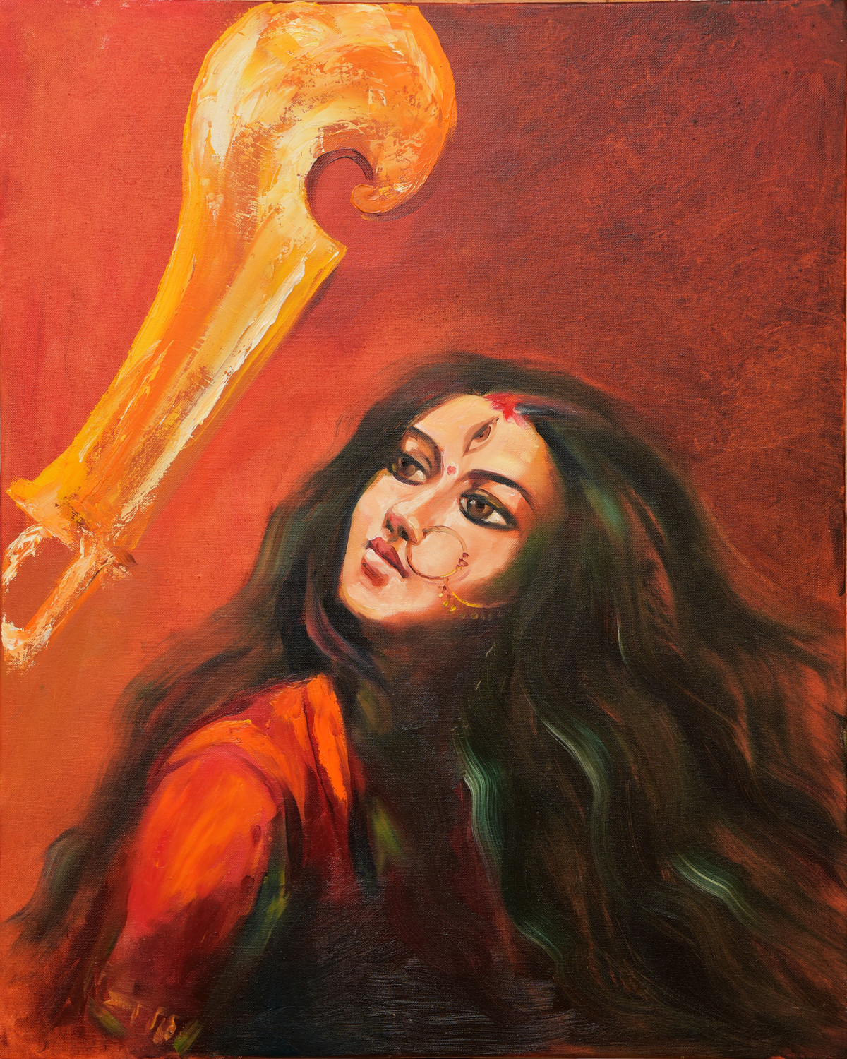 Empowerment by Shishir Gupta, Expressionism Painting, Oil on Canvas, Brown color