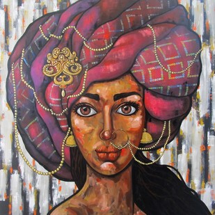 Girl in a pink turban by Suruchi Jamkar, Expressionism Painting, Acrylic on Canvas, Brown color