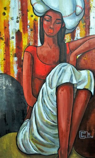 Girl in a white turban by Suruchi Jamkar, Expressionism Painting, Acrylic on Canvas, Brown color