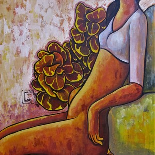 Girl with a yellow bird by Suruchi Jamkar, Expressionism Painting, Acrylic on Canvas, Brown color