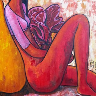 Girl with a red bird by Suruchi Jamkar, Expressionism Painting, Acrylic on Canvas, Pink color