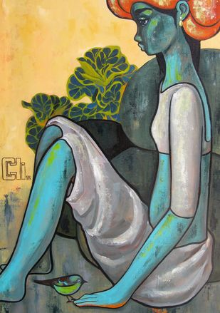 Green girl with a bird by Suruchi Jamkar, Expressionism Painting, Acrylic on Canvas, Green color