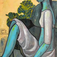 Green girl with a bird 22x34 acrylics on canvas inr 70 000