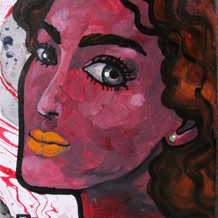 Portrait of a girl by Suruchi Jamkar, Expressionism Painting, Oil & Acrylic on Canvas, Brown color