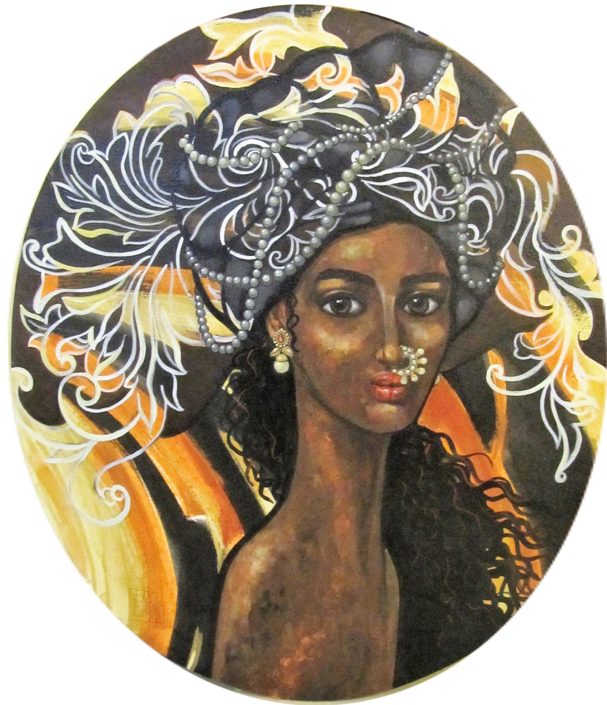 Beautiful indian girl by Suruchi Jamkar, Expressionism Painting, Acrylic on Canvas, Brown color