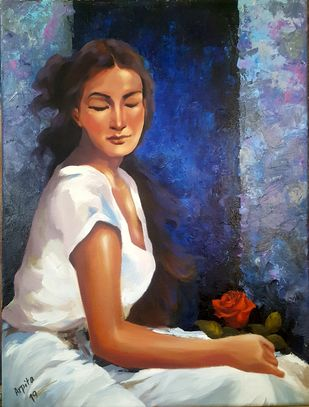 Thinking of you by Arpita, Expressionism Painting, Acrylic on Canvas, Blue color