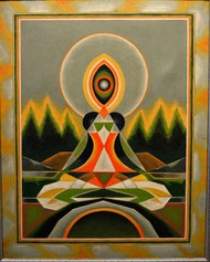 untitled by G R Santosh, Geometrical Painting, Acrylic on Canvas, Brown color