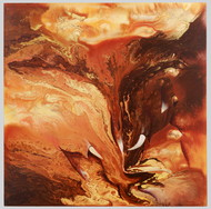A play in muddy river I by KarthikeyanPitchaimallian, Abstract Painting, Acrylic on Canvas, Brown color