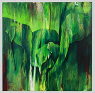 In a water hole by KarthikeyanPitchaimallian, Abstract Painting, Acrylic on Canvas, Green color