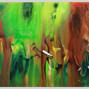 Play Time by KarthikeyanPitchaimallian, Abstract Painting, Acrylic on Canvas, Green color
