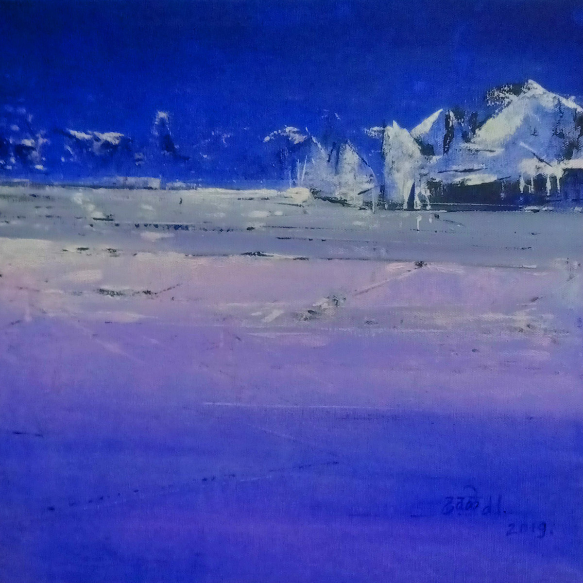 Dreamland-2 by Dnyaneshwar Dhavale , Abstract Painting, Acrylic on Canvas, Blue color