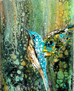 Bird by kakali sanyal, Abstract Painting, Acrylic on Canvas, Green color