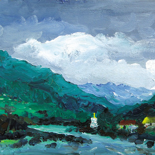 Beas River, Gompa, Kullu Valley -II by Animesh Roy, Impressionism Painting, Acrylic on Canvas, Cyan color