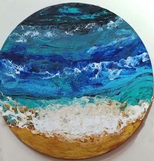 The ocean 2 by kakali sanyal, Abstract Painting, Acrylic on Canvas, Blue color