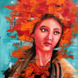 A girl with red hat by Sanghamitra Roy Majumder, Expressionism Painting, Acrylic on Canvas, Brown color