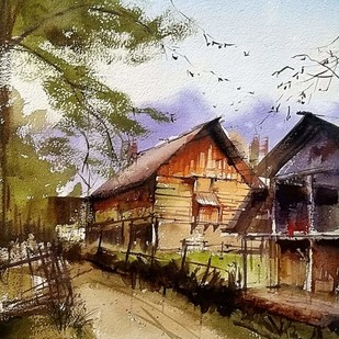 Morning delight by Sanghamitra Roy Majumder, Impressionism Painting, Watercolor on Paper, Brown color